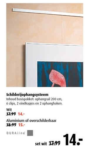 sleuven frezen in muur: schilderij ophangsysteem gamma