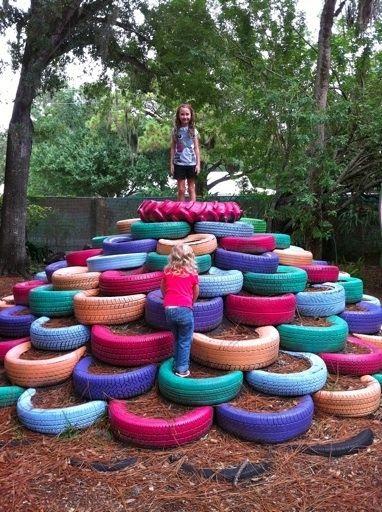 recycled tires in kid's garden !