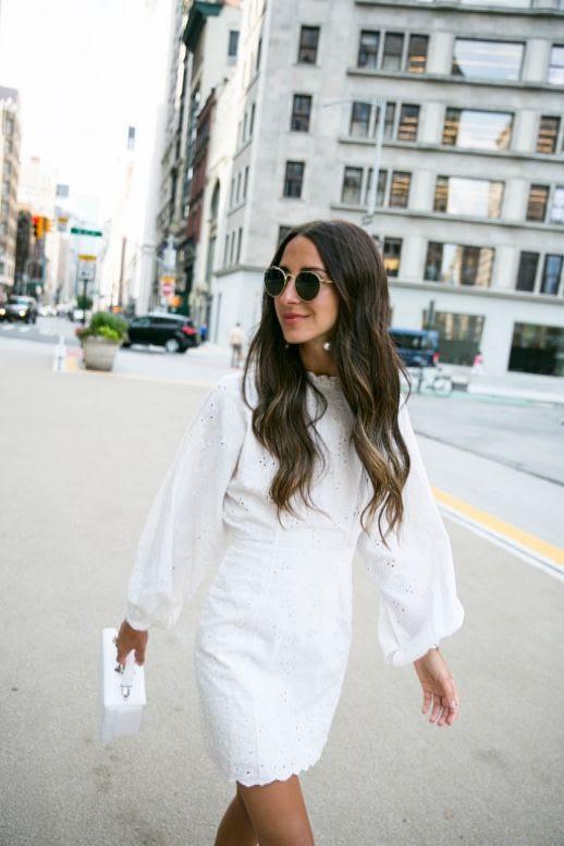 Le Fashion Blog Eyelet Balloon Sleeve White Dress White Square Bag Via Something Navy