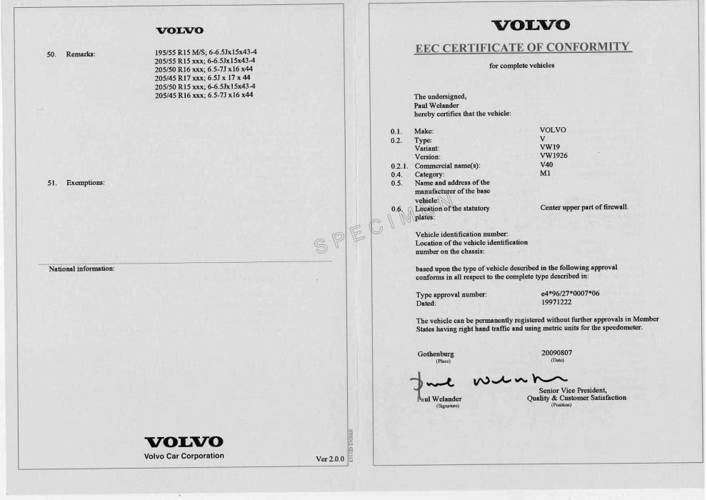 Certificat De Conformité Volvo Service Coc Volvo