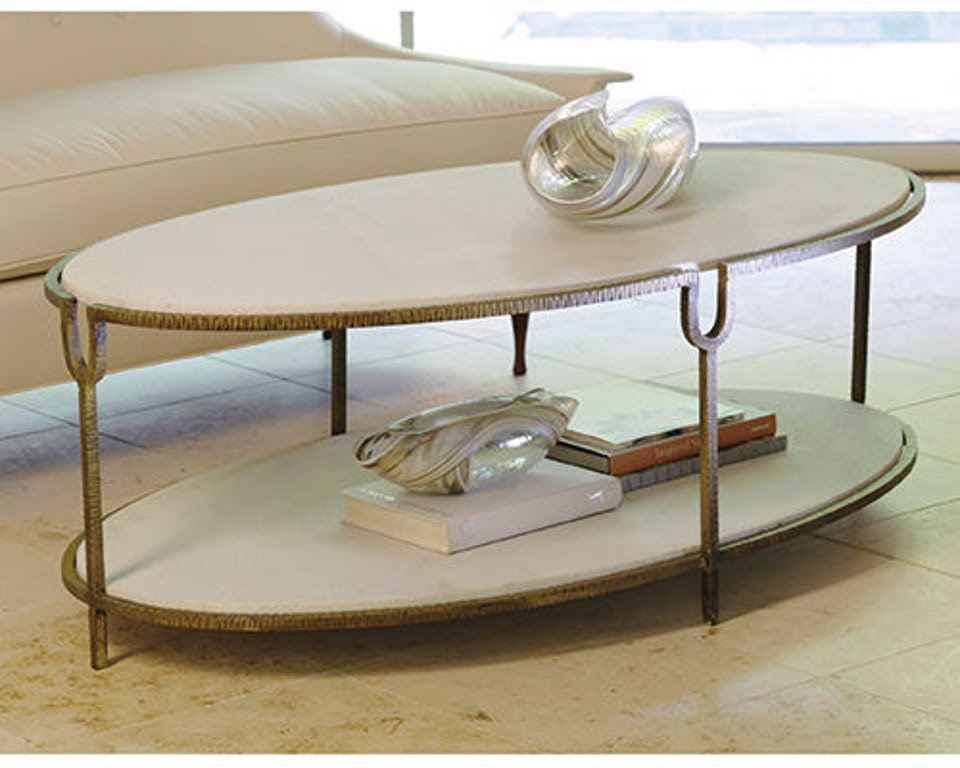 Global Views Living Room Iron/Stone Oval Coffee Table 9 ...