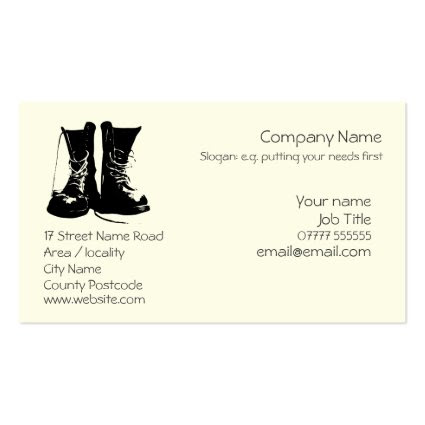 Stout Work Boots Generic logo Business Card Template