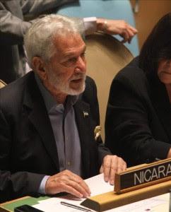 El ministro de Asuntos Exteriores de Nicaragua, Samuel Santos López, durante una reunión un día antes de la apertura de la 67 Asamblea General de Naciones Unidas en la sede de la ONU en Nueva York (EEUU).EFE