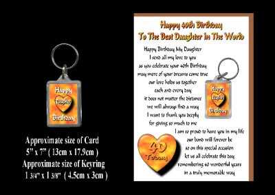 Details about 40TH HAPPY BIRTHDAY DAUGHTER 40 CARD AND KEYRING GIFT