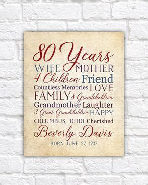 80th Birthday, 80 Years Old Birthday Gift for Mother