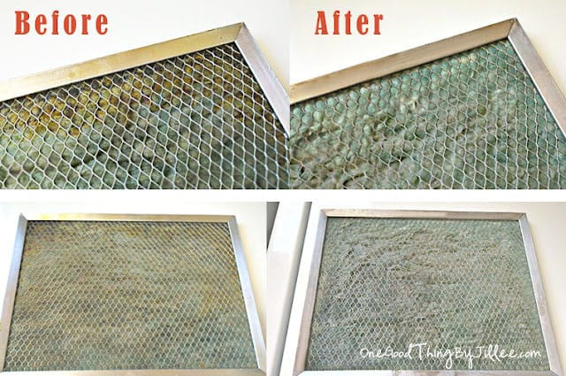 cleaning the greasy stove vent filter