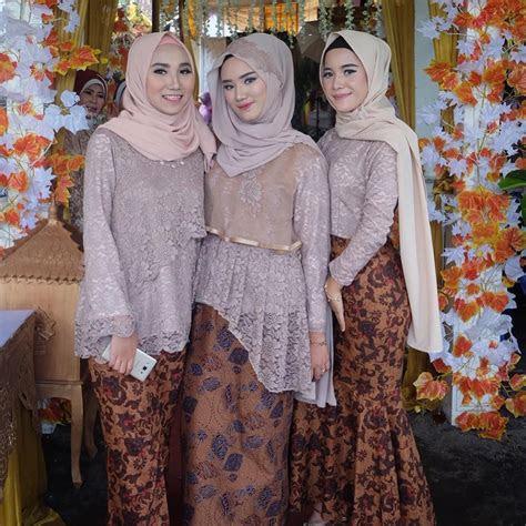 model kebaya modern brokat rok batik solo coklat fashion