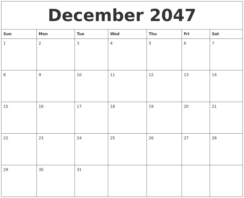 december 2047 free monthly calendar template