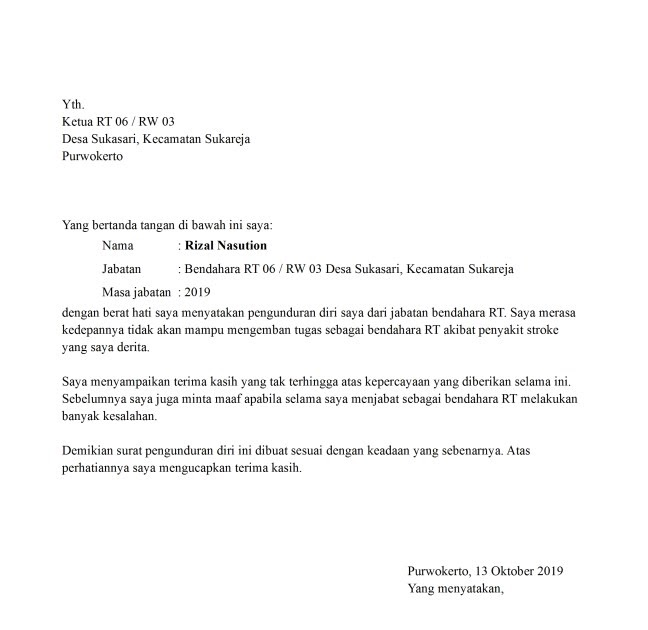 Contoh Surat Pengunduran Diri Dari Ketua Rt Contoh Surat