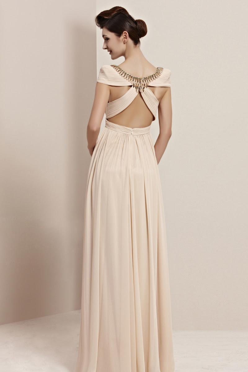 Elegant A-line Scoop Cap Sleeves Beading Ruffles Floor-length Chiffon Evening Dresses