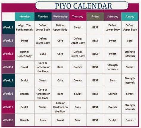 piyo review  results piyo workout calendar