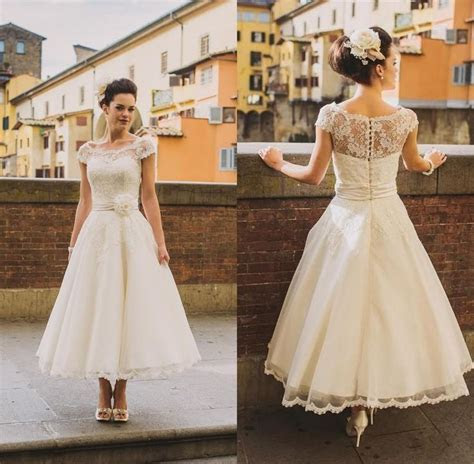 Choose 2016 new short beach wedding dresses lace top cap