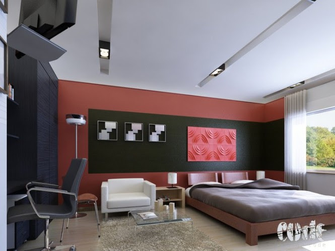 red and blakc bedroom