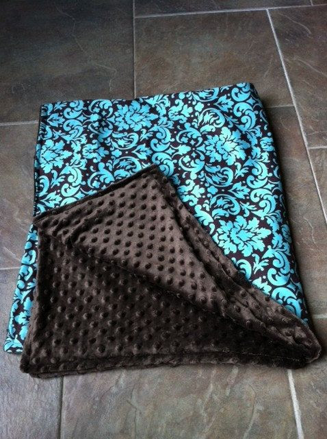 Teal and Brown Minky blanket.