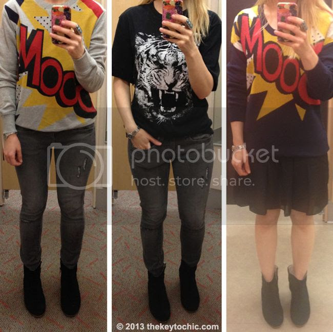 Phillip Lim for Target boom sweatshirt, tiger t-shirt, and boom dress, Phillip Lim for Target fitting room reviews