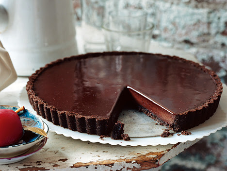 Chocolate Glazed Chocolate Tart recipe