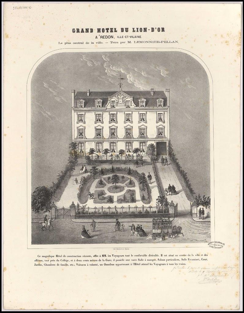 Grand hôtel du Lion d'Or à Redon, Ille-et-Vilaine. géographie [Autres lieux hors département] Ille-et-Vilaine Lion d'Or (hôtel du) Redon