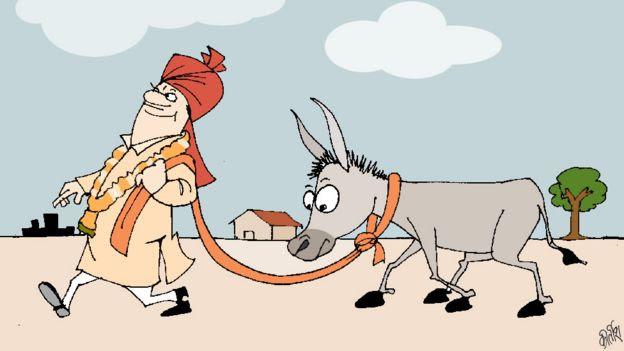 Cartoon of man leading donkey