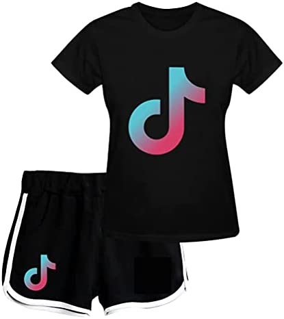 Womens to TIK T-Shirt and Shorts 2pcs Set Fashion Short Sleeve Suit Casual Summer Sporting Set Tracksuit Sportwear Suit