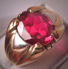Antique Mans Ruby Ring Art Deco Gold Vintage Mens Band