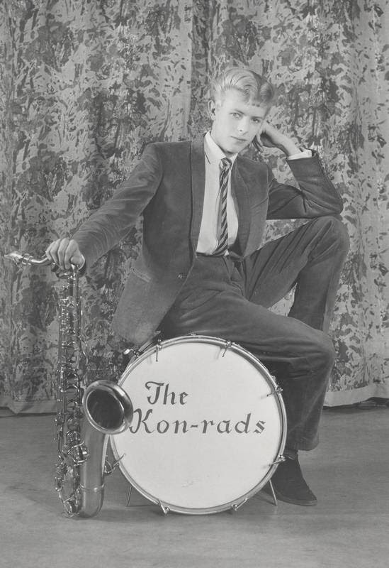 This 1963 promotional shot for The Konrads, David Bowie's first band, provides an early look at his long music career.