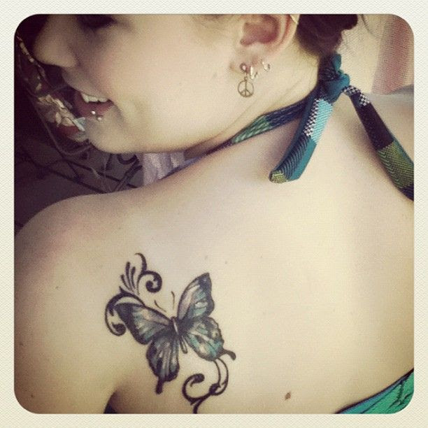 Girl Shoulder Butterfly Tattoo Tattoomagz