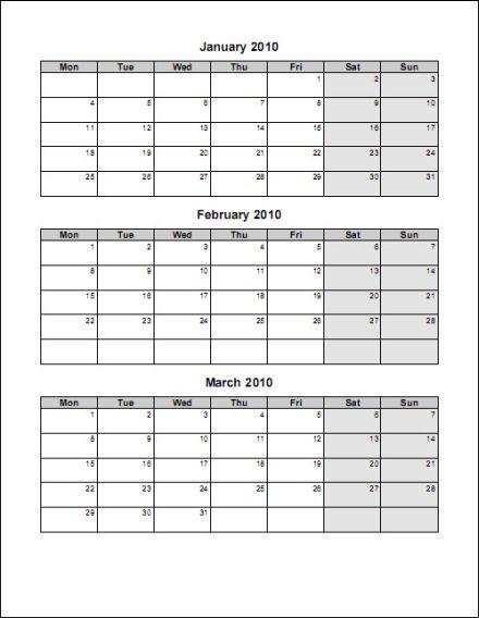 3 month calendar template word free printable 3 month calendar template 167596 DhkxOu