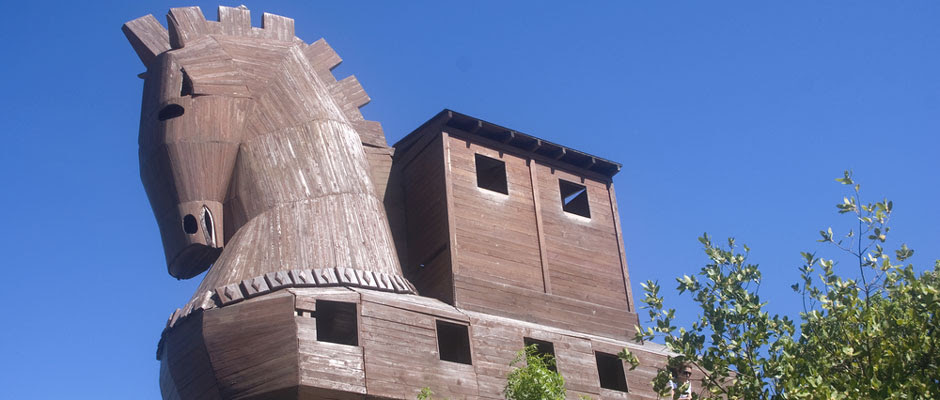 Photo of a wooden replica of the famous Trojan horse from Greek mythology