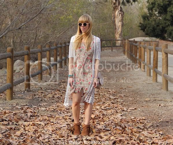 floral high low dress,  Forever 21 crochet cardigan, Los Angeles fashion blogger, southern California fashion blog