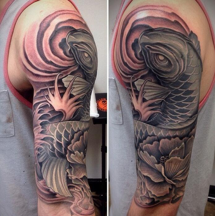 All Black And Grey Koi Fish Half Sleeve By David Mushaney At Rebel
