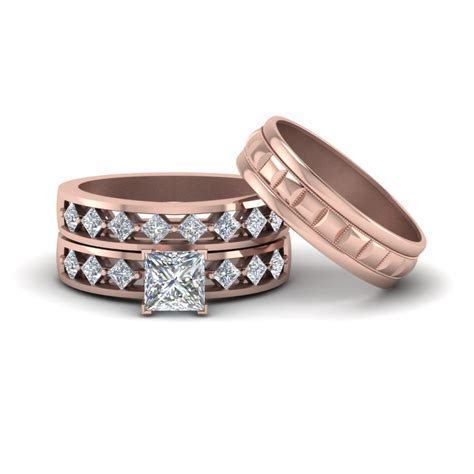 Get Our 14k Rose Gold Trio Wedding Ring Sets  Fascinating