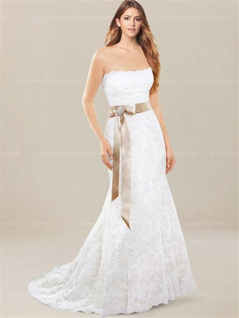 Strapless Lace Wedding Dress $289