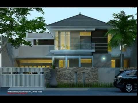 desain rumah 2 lantai dengan kolam renang dan taman