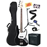 Squier by Fender Bullet Electric Jazz Bass Guitar Bundle with Hardshell Case, 15-Watt Amp, Instrument Cable, Stand...
