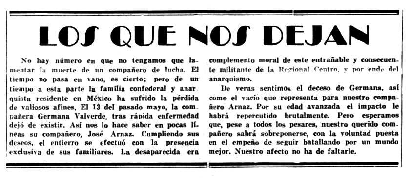 """Necrològica de Germana Valverde apareguda en el periòdic mexicà """"Tierra y Libertad"""" de juliol de 1969"""