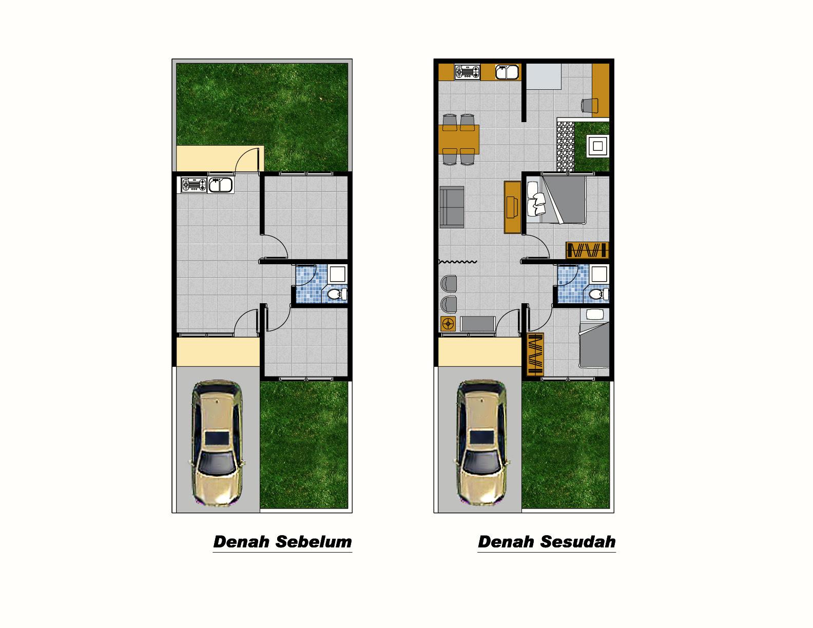 Denah Rumah 3 Kamar Ukuran 7x9 Paling Dicari Bergarasi