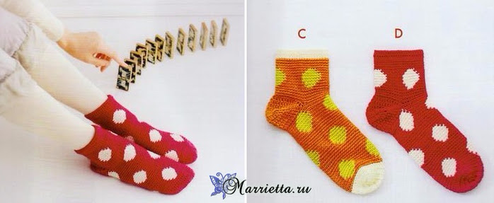 Knit crochet socks.  Schemes (3) (700x287, 190Kb)