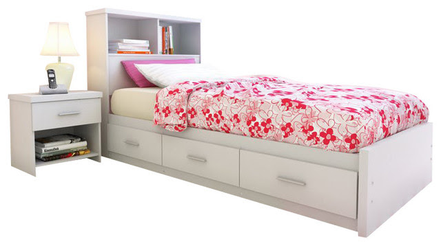 Sonax Willow Twin (Single) Storage Bed with Bookcase Headboard in ...