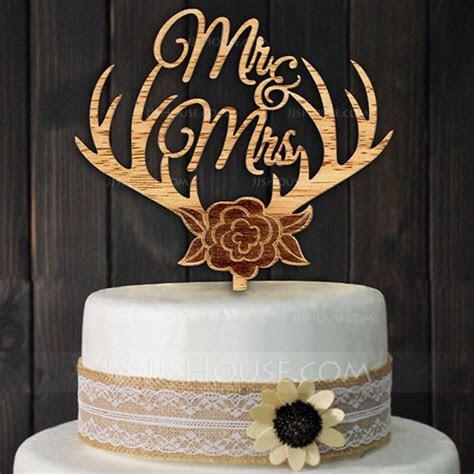 Mr. & Mrs. Wood Cake Topper (Set of 2) (119124533)   Cake