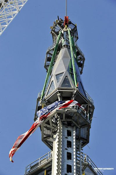 The final segment of the 1 World Trade Center's antenna spire is installed...on May 10, 2013.