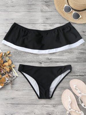 Overlay Color Block Off Shoulder Bikini - Black