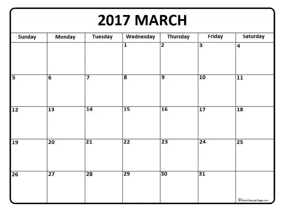 March 2017 Calendar Ideas – 2017 March Calendar