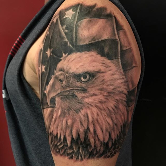 American Flag With Eagle Tattoo Veteran Ink