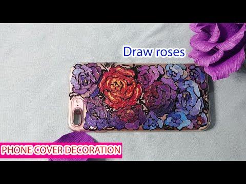 Vẽ trang trí ốp điện thoại siêu đẹp với họa tiết hoa