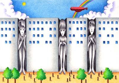 ファンタジーイラスト沈黙の人 ビルディングビルストリート