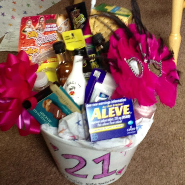 21st birthday basket..fun! I want this for my birthday