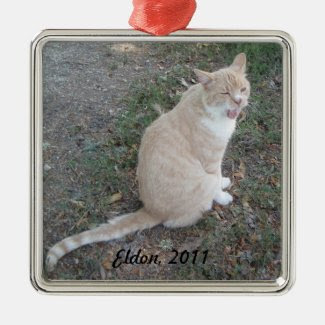 Ornament: Marmalade Cat Yawning Square Metal Christmas Ornament