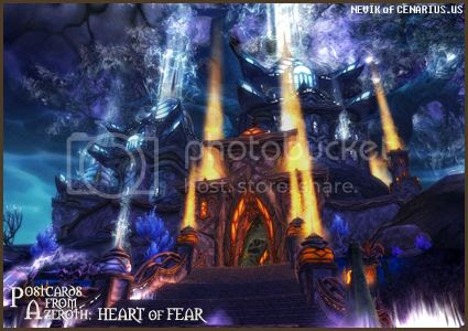 Rioriel and Nevik's daily World of Warcraft screenshot presentation of significant locations, players, memorable characters and events, assembled in the style of a series of collectible postcards. -- Postcards of Azeroth: Heart of Fear