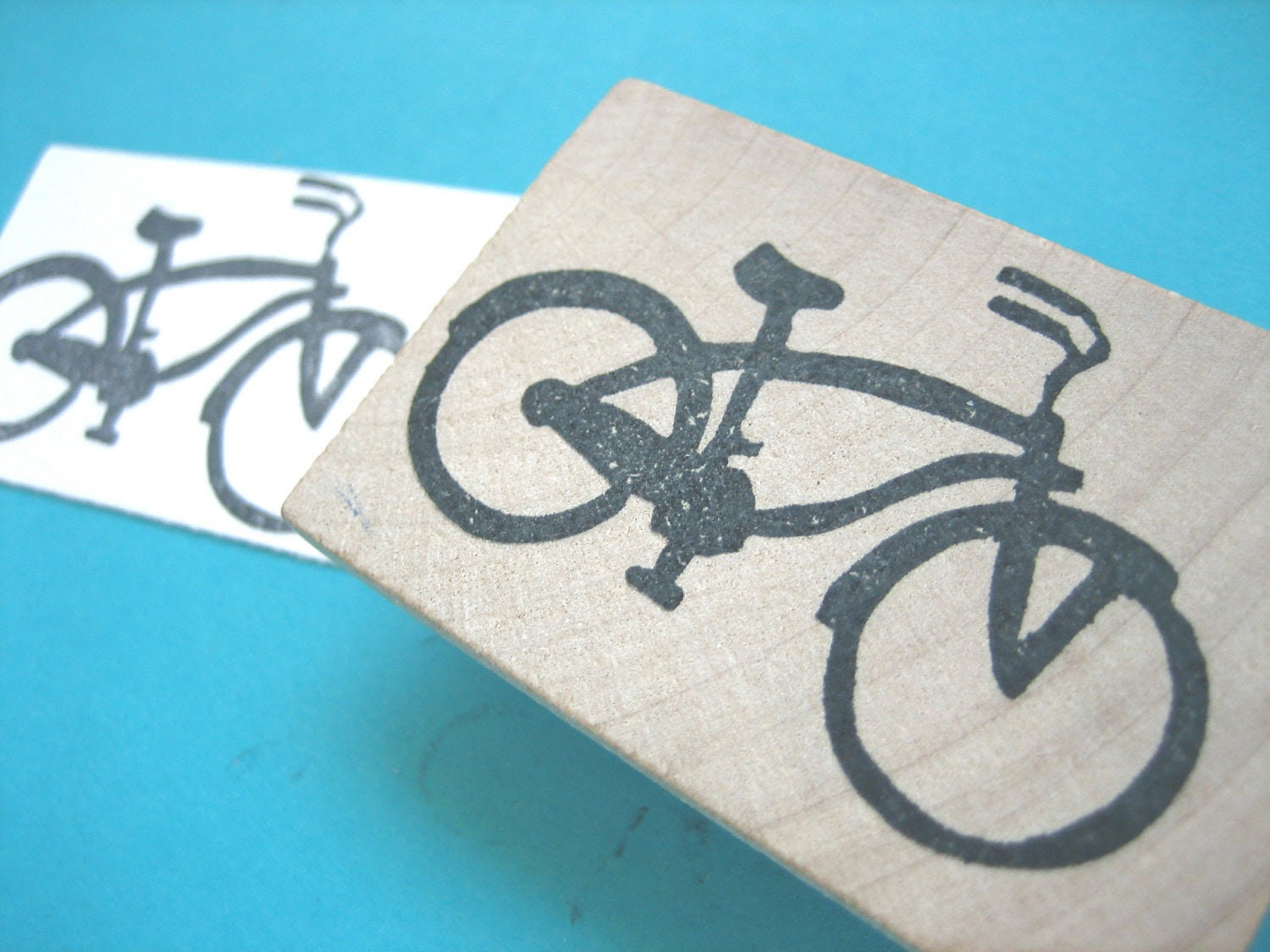 Bicycle Hand Carved Rubber Stamp Bike
