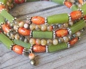 Memory Wire Bracelet in Green and Orange, made of Natural Stone and Wood, Wide Cuff, Stacked, Wrap Around Bracelet - JulepTulip